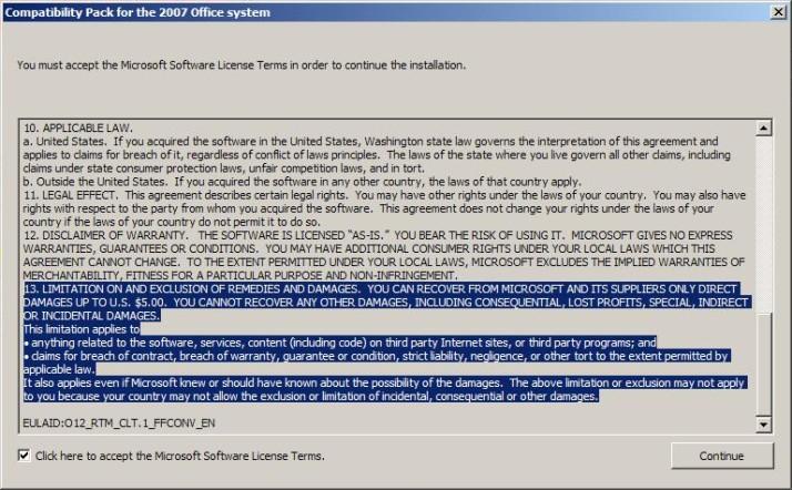 Microsofts Haftungsübernahme