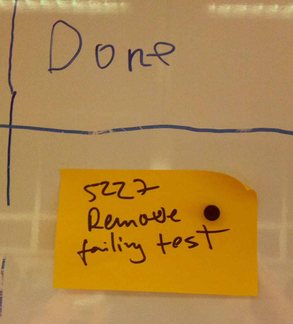 In the DONE column of the kanban board, a post it reads 'Remove Failing Test'