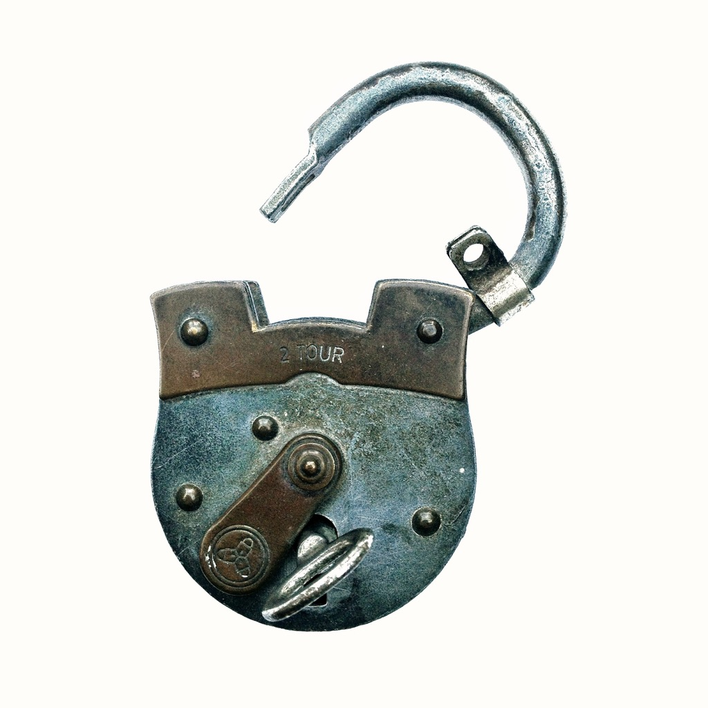 An open padlock against a white background